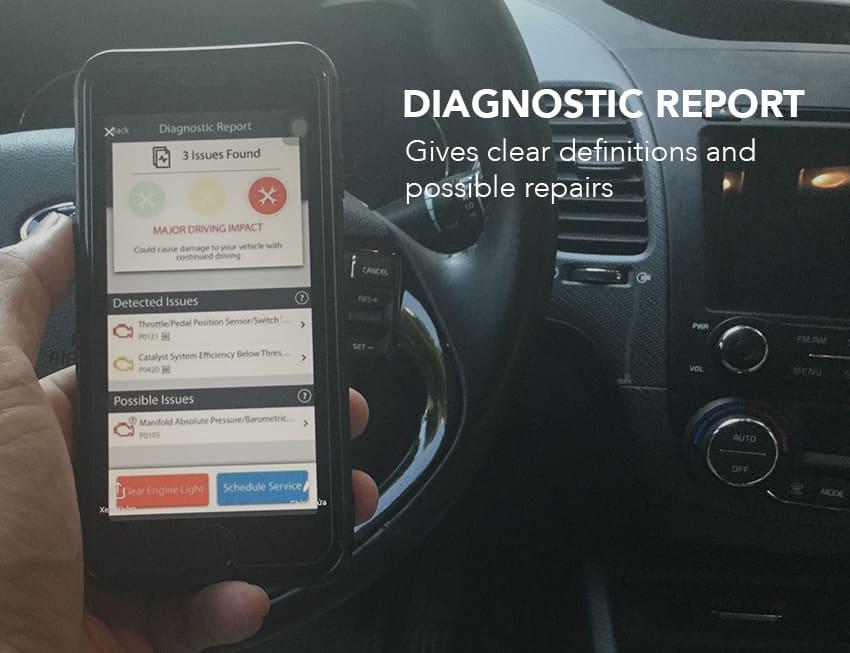 FIXD device displays a Diagnostic Report
