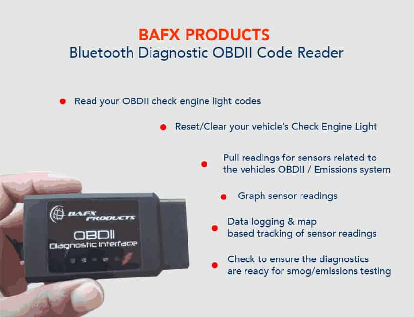 BAFX Products Bluetooth Diagnostic OBDII Code Reader Function