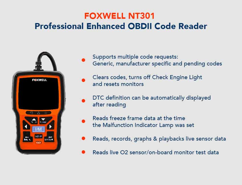 FOXWELL NT301 Professional Enhanced OBDII Code Reader