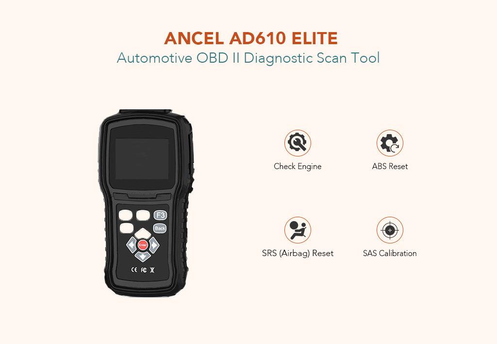 ANCEL AD610 Elite Automotive OBD II Diagnostic Scan Tool