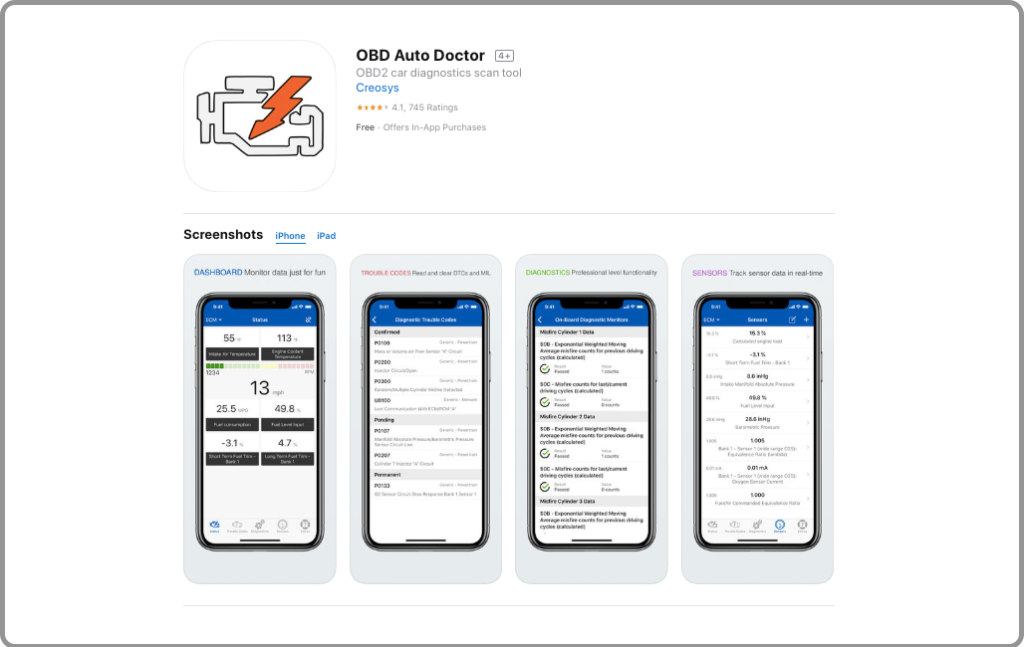 Auto Doctor OBD2 App for IOS